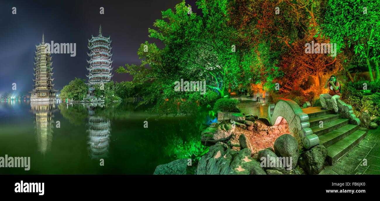 China, Guangxi Province, Guilin, Banyan Lake Pagodas. Stock Photo