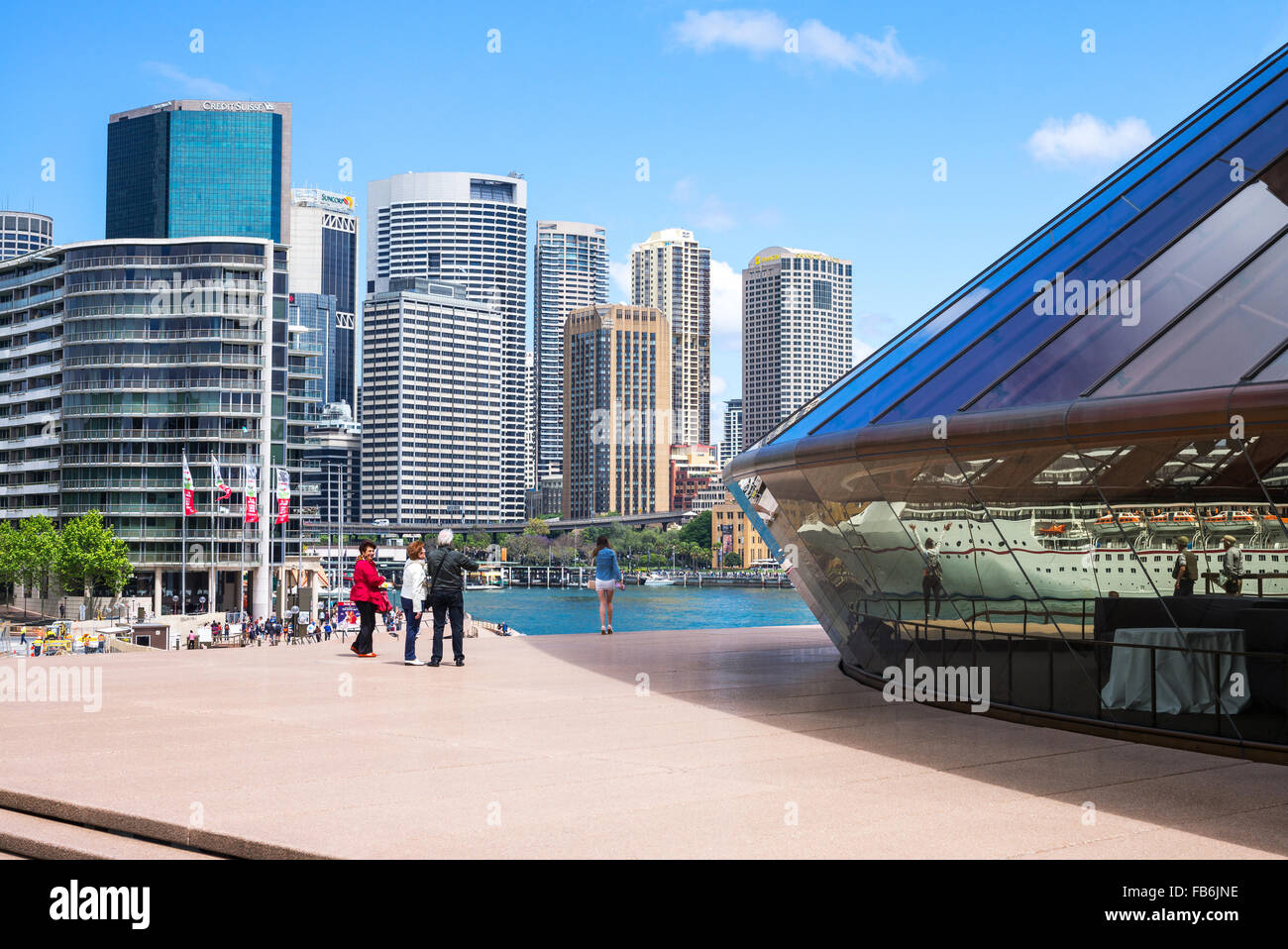 Australia, Sydney, tourists on the flight of steps of the Opera House Stock Photo