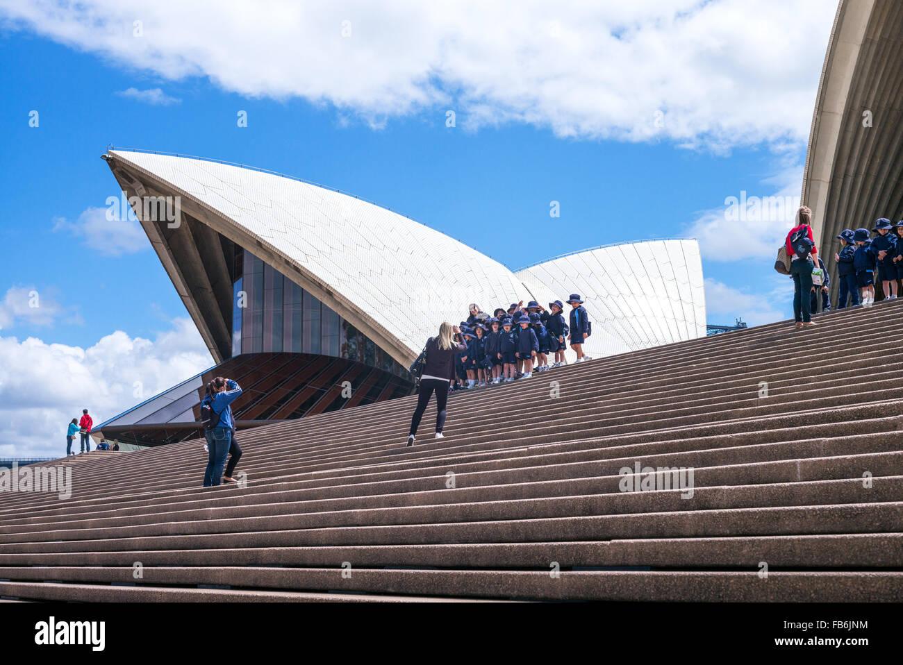 Australia, Sydney, tourists on the flight of steps of the Opera House Stock Photo
