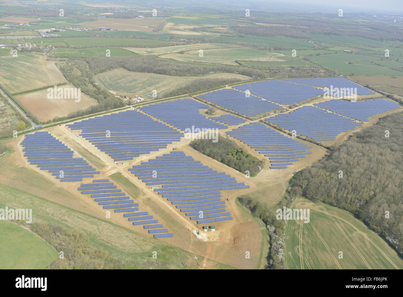 An aerial view of a solar farm in Leicestershire - Stock Image