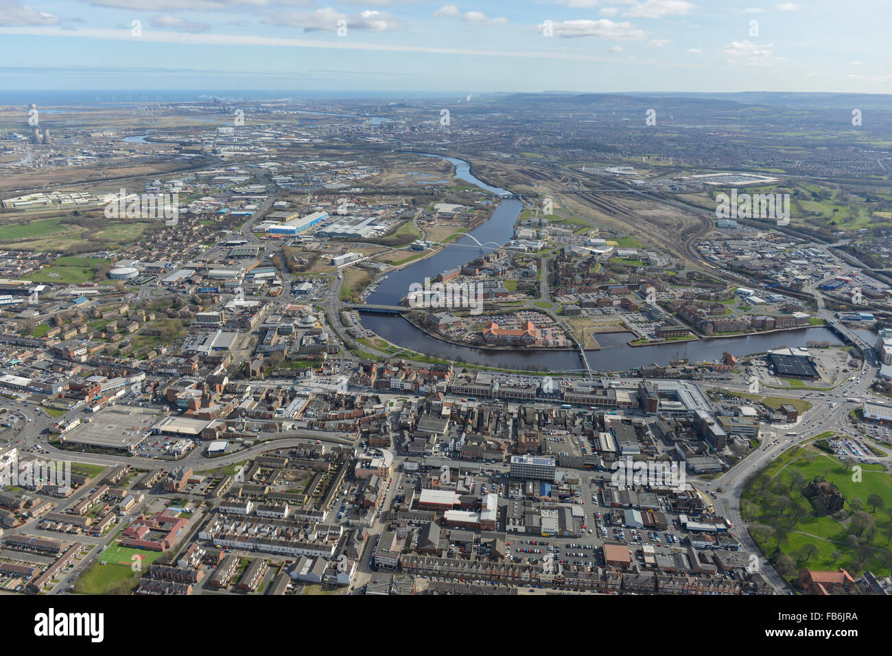 General views of Stockton on Tees from the West - Stock Image