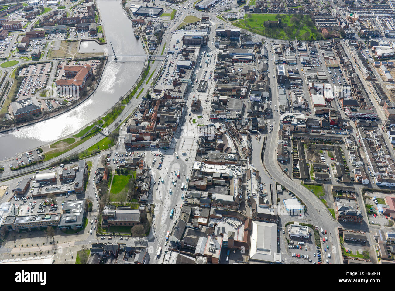 An aerial view of Stockton on Tees town centre and shopping precinct - Stock Image