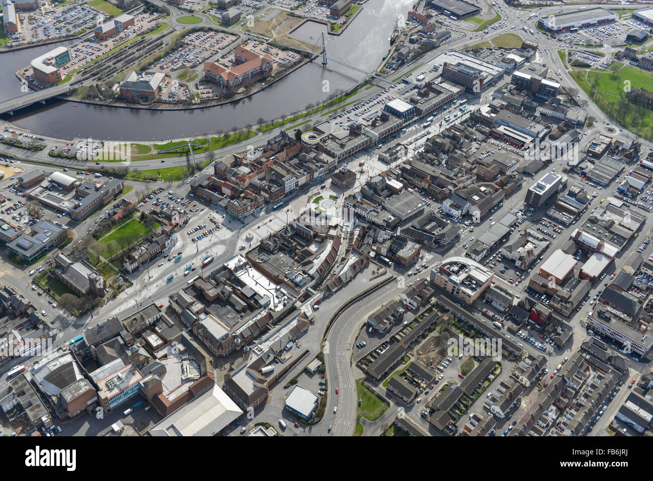 An aerial view of the town centre and shopping precinct area of Stockton on Tees - Stock Image