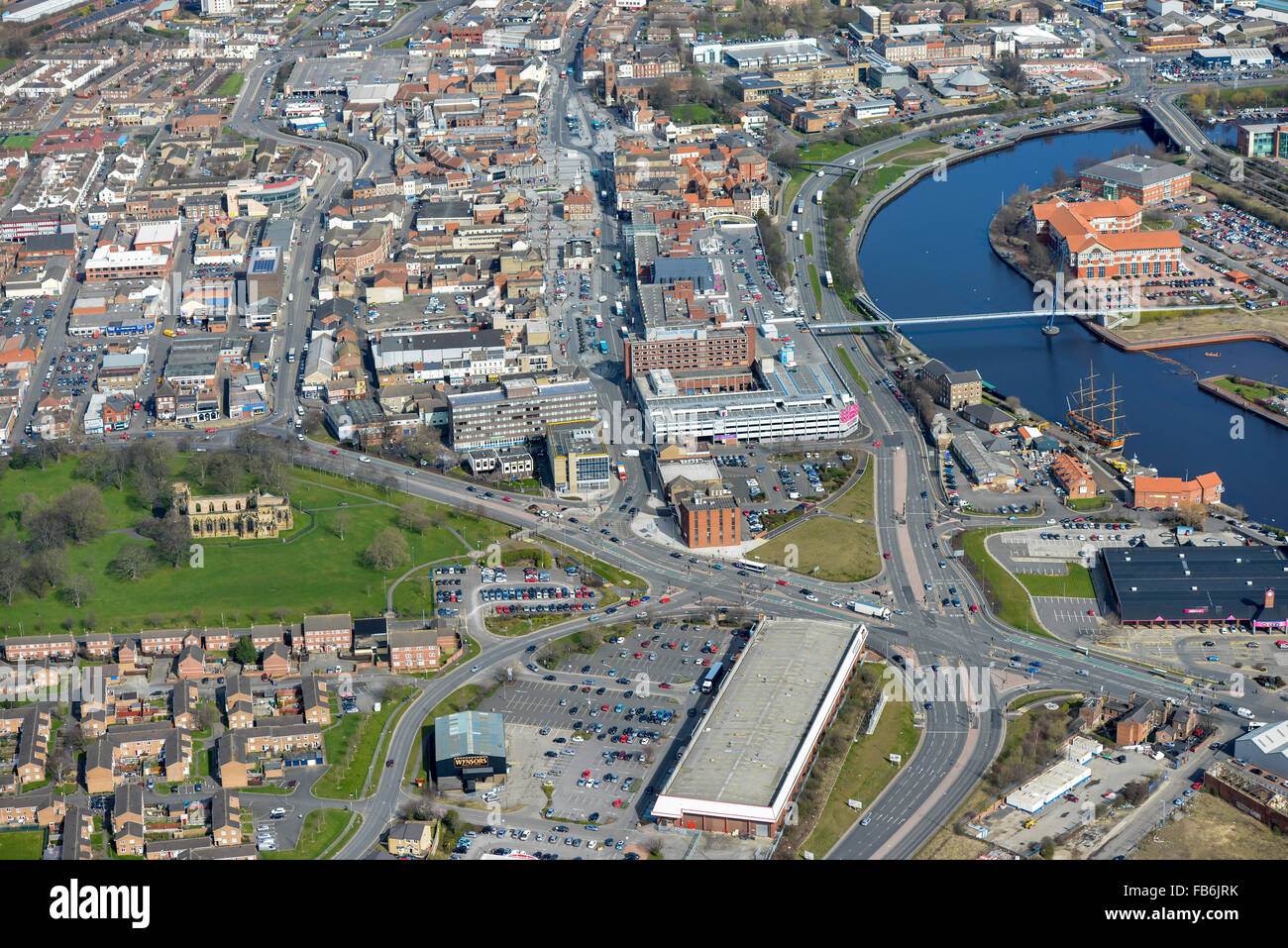 An aerial view of Stockton on Tees town centre and shopping precinct Stock Photo