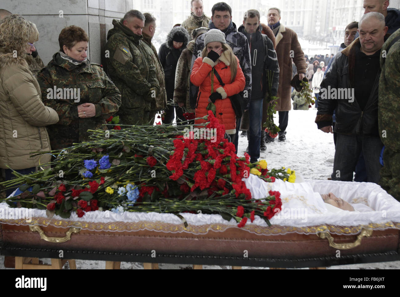 Kiev, Ukraine. 4th Dec, 2015. A ceremony of farewell at the Independence Square in Kiev. The Ukrainian soldier Oleksandr - Stock Image