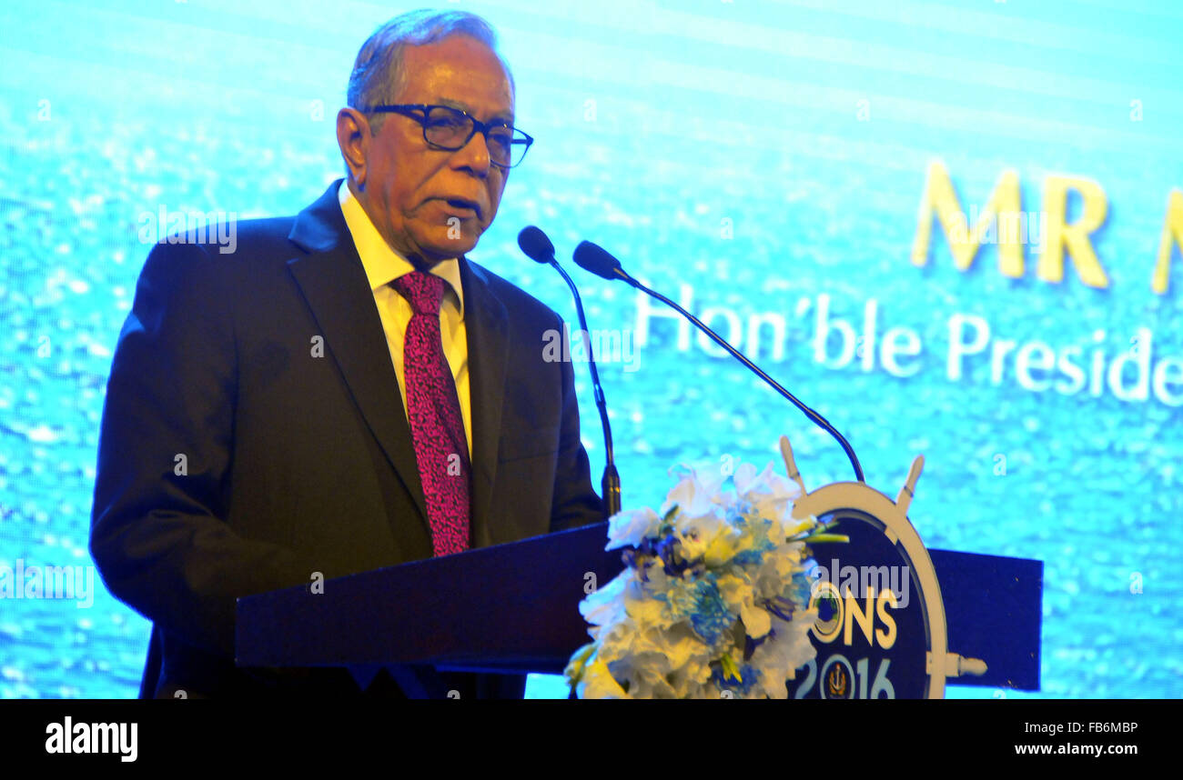 (160111) -- DHAKA, Jan. 11, 2016 (Xinhua) -- Bangladeshi President Abdul Hamid addresses the inauguration ceremony - Stock Image