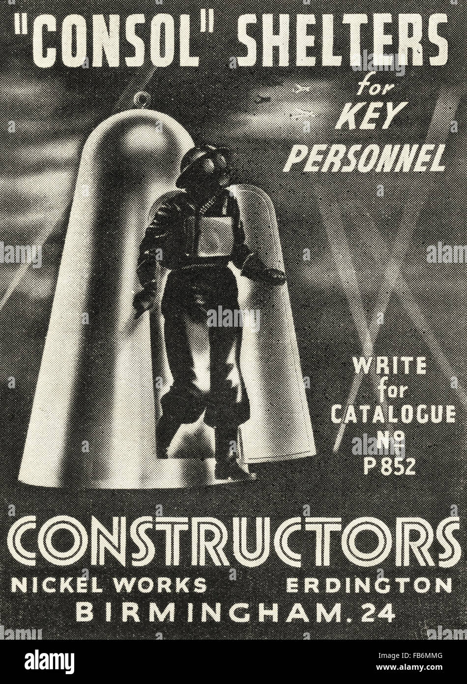 Original vintage advert from 1930s. Advertisement from October 1939, at the start of World War II, advertising Consol - Stock Image