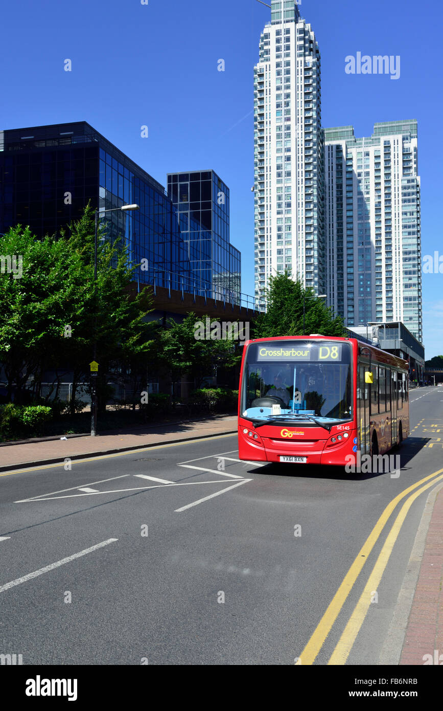 Single decker red bus, Marsh Wall, Canary Wharf, London E14, United Kingdom - Stock Image