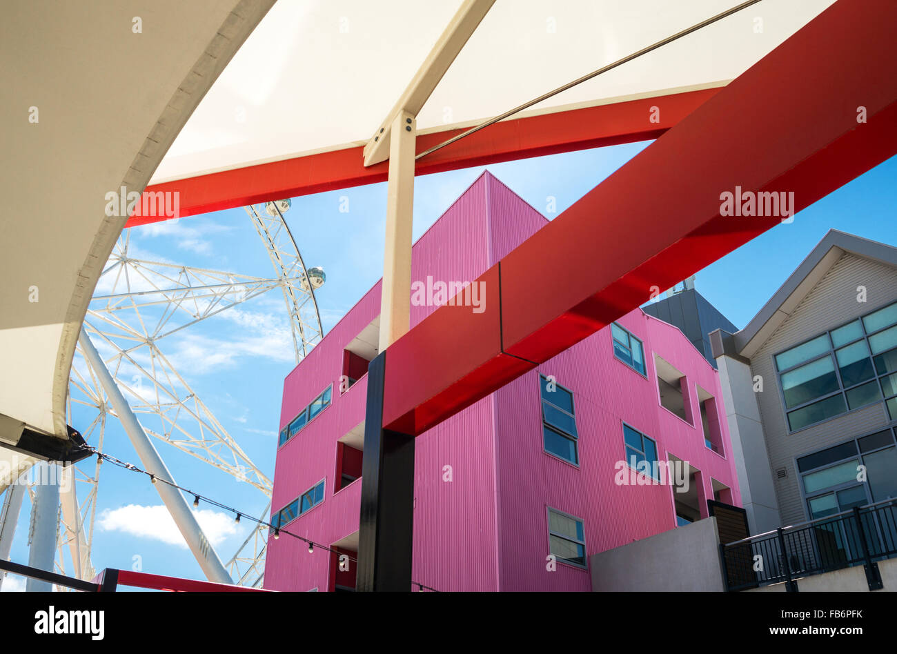 Australia, Melbourne, architectures of the Harbour Town of the Victoria Harbour - Stock Image