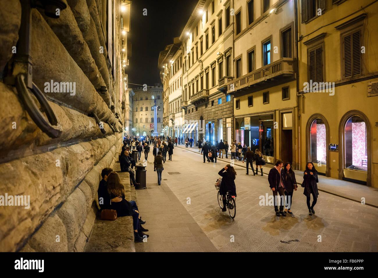 Florence. Italy. Via de' Tornabuoni. - Stock Image