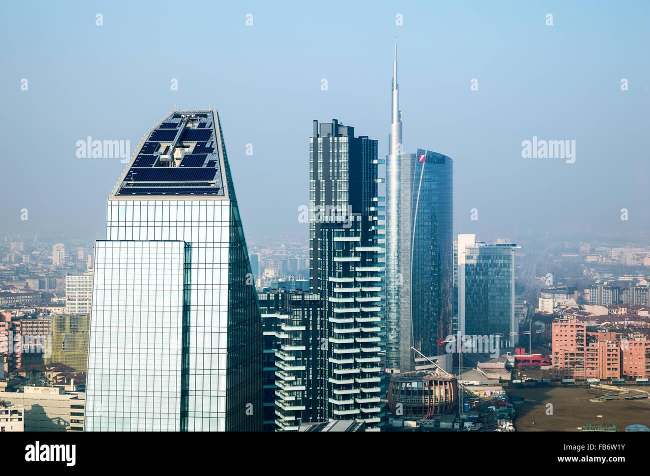 Italy, Milan, city scape from the Grattacielo of Della Repubblica square - Stock Image