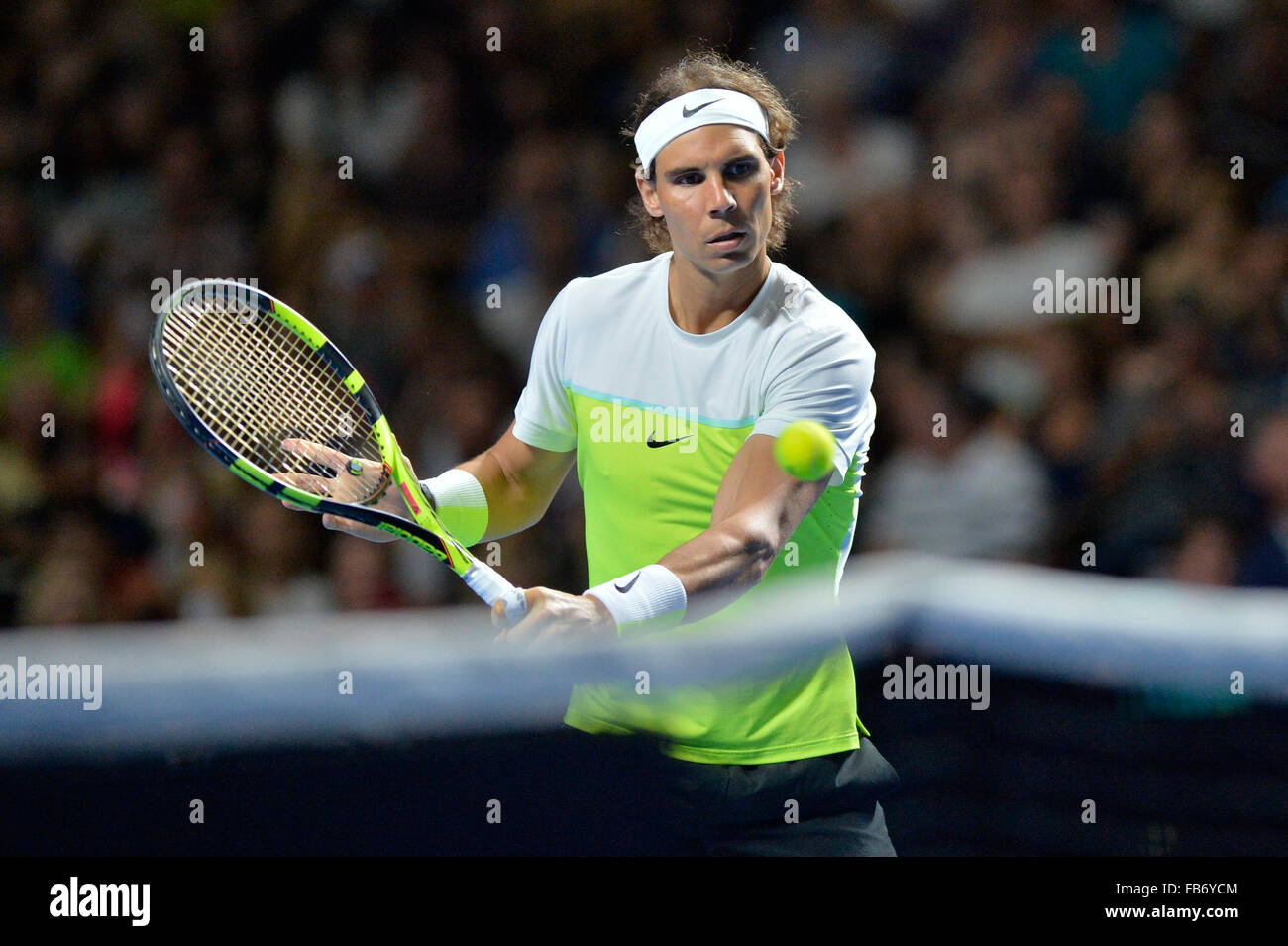 Sydney, Australia. 11th January, 2016. Rafael Nada (ESP) in action against Lleyton Hewitt (AUS) during the FAST4 Stock Photo