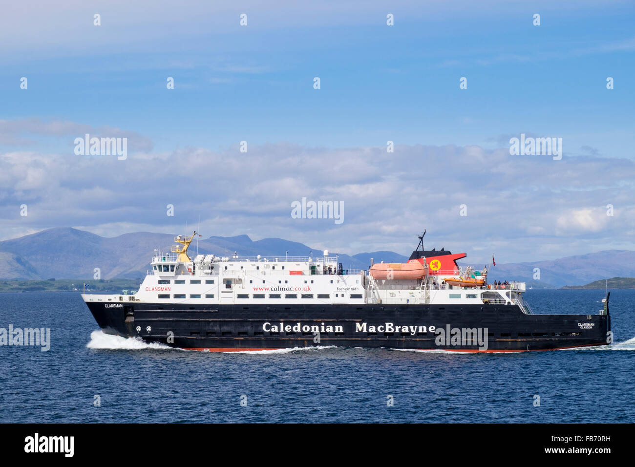 Caledonian MacBrayne ferry sailing out of Oban, Argyll and Bute, Inner Hebrides, Western Isles, Scotland, UK, Britain - Stock Image