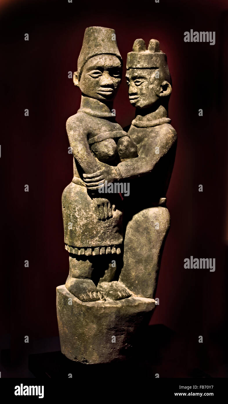 Tomb couple Ntadi 9th Century Stone Democratic Republic of Congo  Africa African - Stock Image