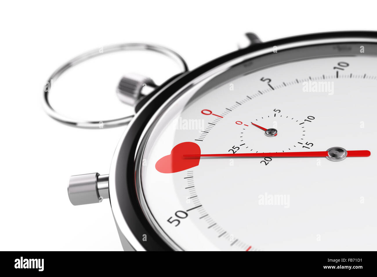 One heart on a chronometer over white background. 3D illustration of speed dating concept or love at first sight. - Stock Image