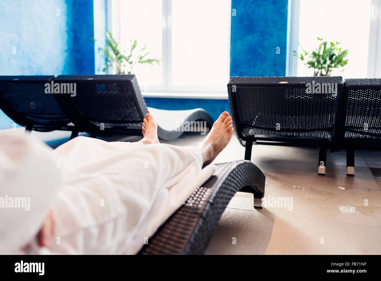 Man in bathrobe Stock Photo