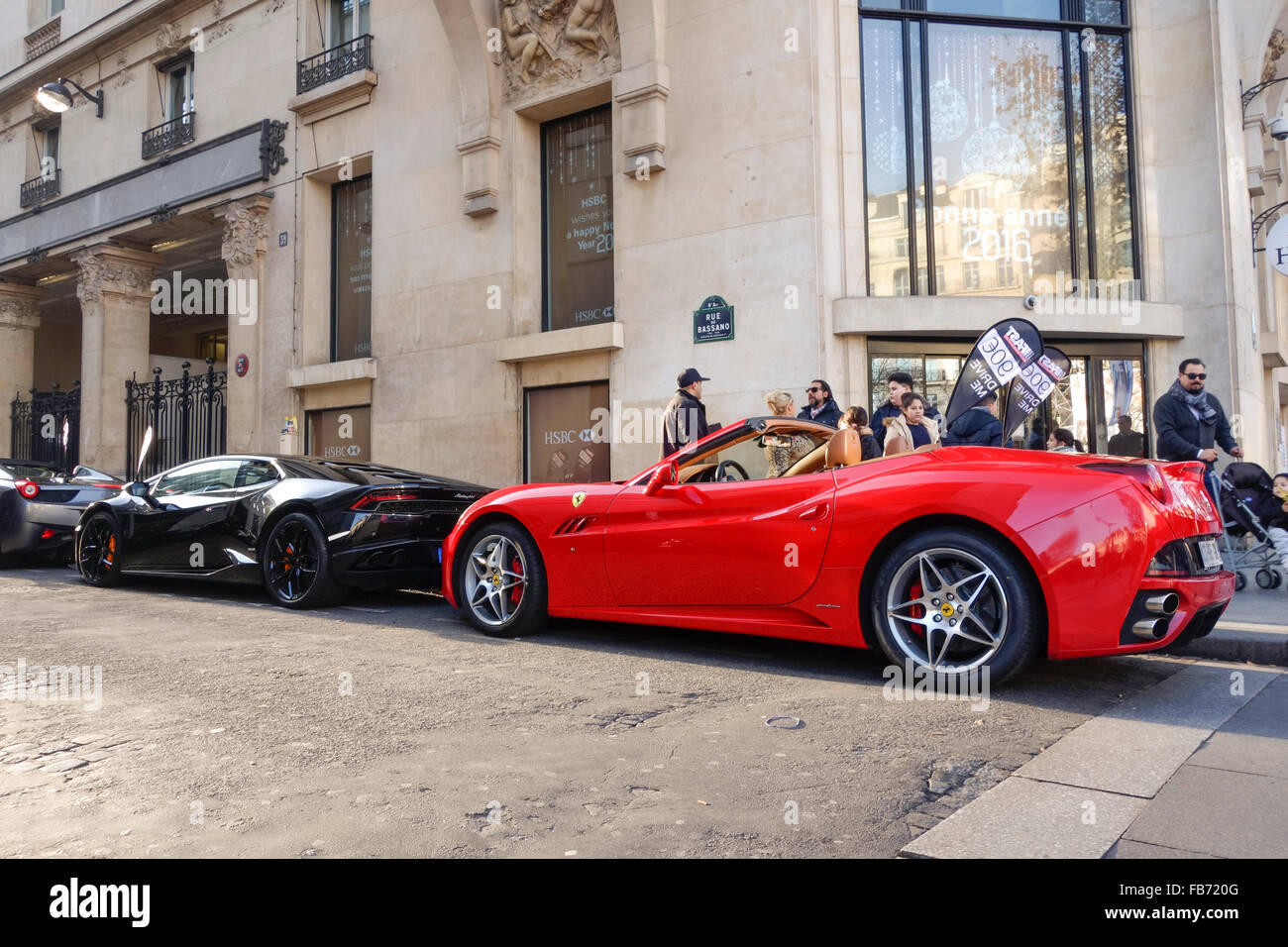 Lamborghini And A Ferrari For Rent At A Luxury Car Hire Company At