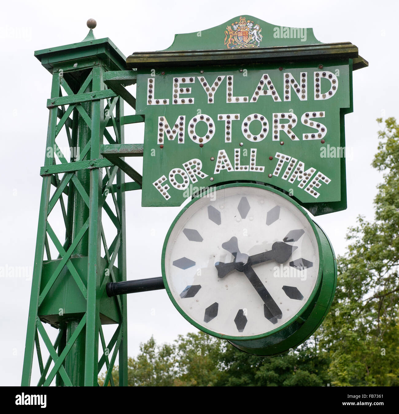 The Leyland Motors Clock, Brewery Arts Centre, Highgate, Kendal, Cumbria, England, UK. - Stock Image