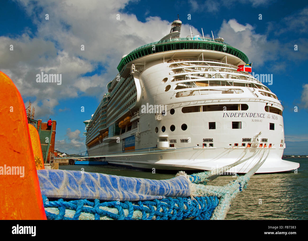 Cruise liner 'Independence of the Seas' moored at Cobh Cruise Terminal, Ireland. - Stock Image