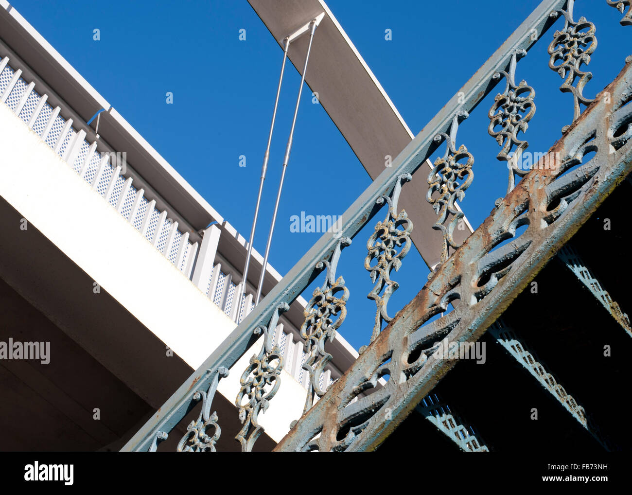 New and old staircases with a blue sky and copy space - Stock Image