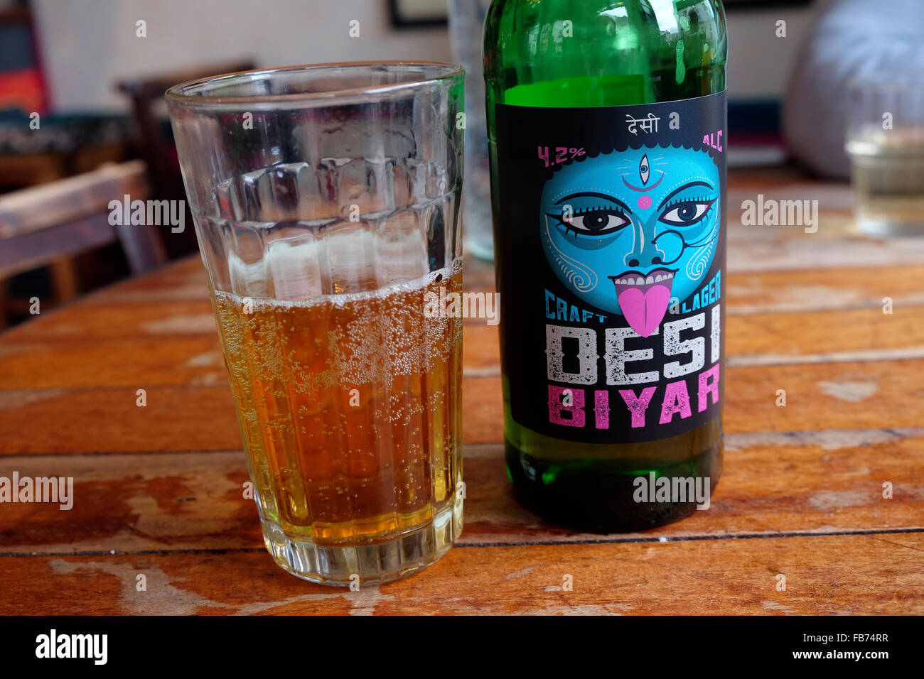 Desi Biyar Indian craft lager beer brewed by Arkells Brewery in UK - Stock Image