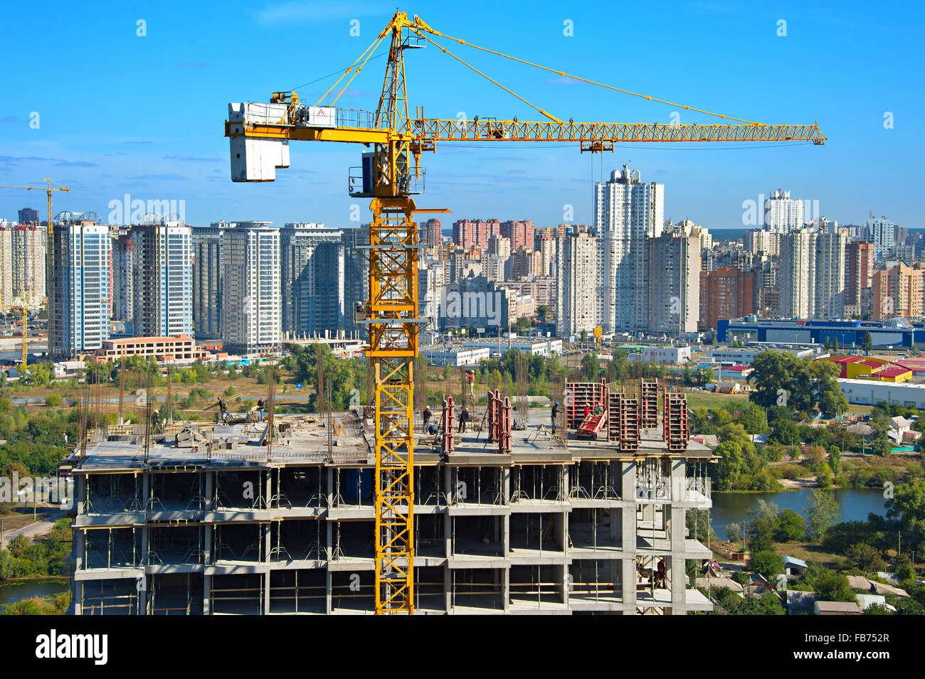 Work in progress at construction site in Kiev, Ukraine - Stock Image