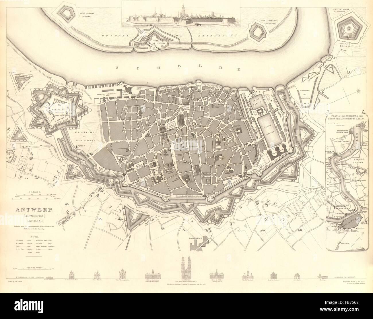ANTWERP ANTWERPEN ANVERS: Town city map. Schelde forts Lillo. SDUK, 1848 Stock Photo