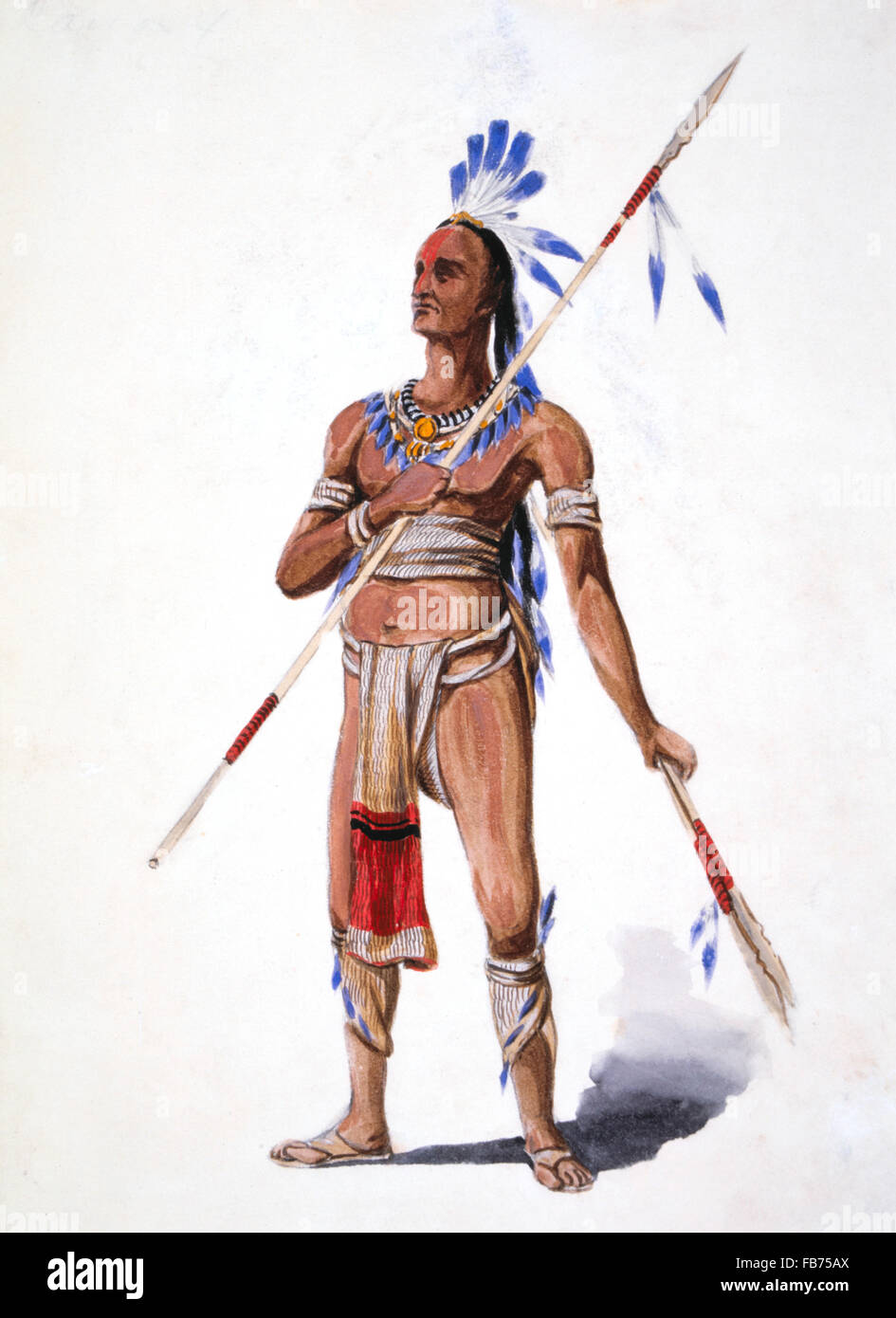 Native American Warrior, by William L. Wells for 1893 Columbian Exposition Pageant, Chicago, Illinois, USA, Watercolor, - Stock Image