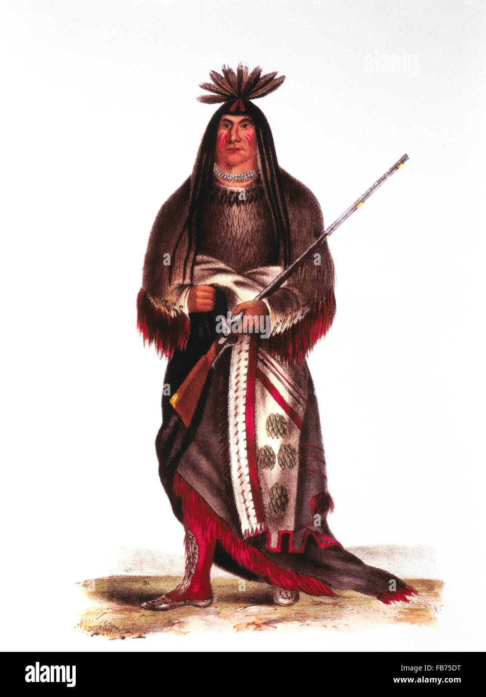 Wanata, The Charger, (1795-1848), Western Dakota Sioux Chief, Painting by Charles King Bird, circa 1826 - Stock Image