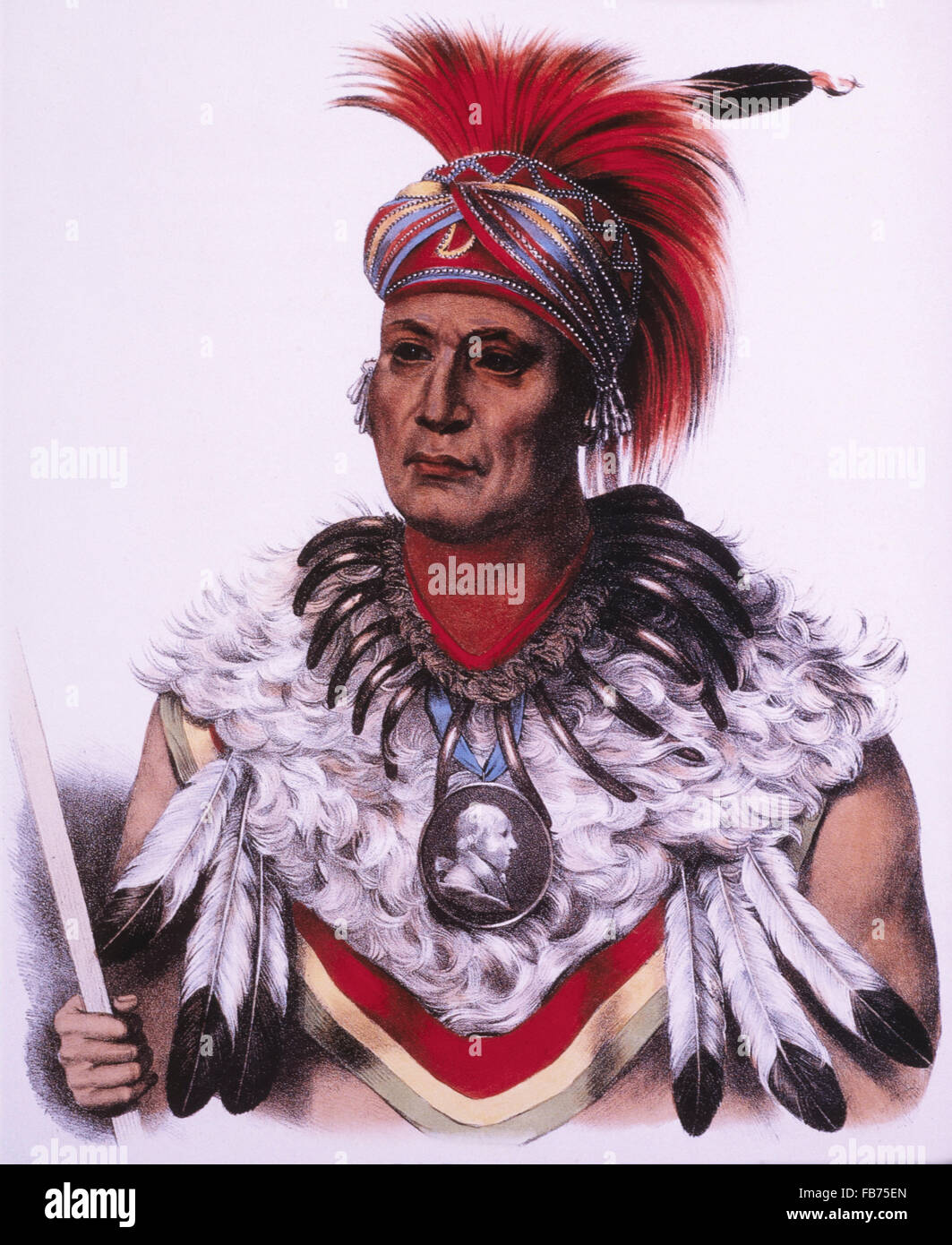 Wa-Pel-La, Musquakee Chief, Lithograph by McKenney and Hall after Painting by Charles Bird King, circa 1838 - Stock Image