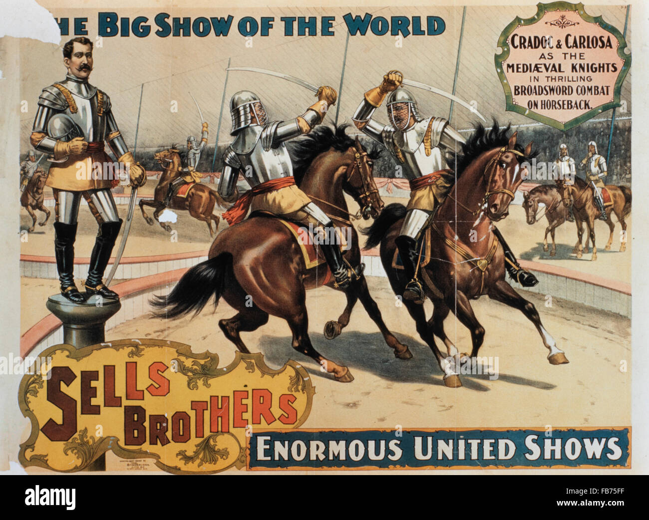 Sells Brothers' Enormous United Shows, Medieval Knights in Combat, Circus Poster, circa 1880's - Stock Image