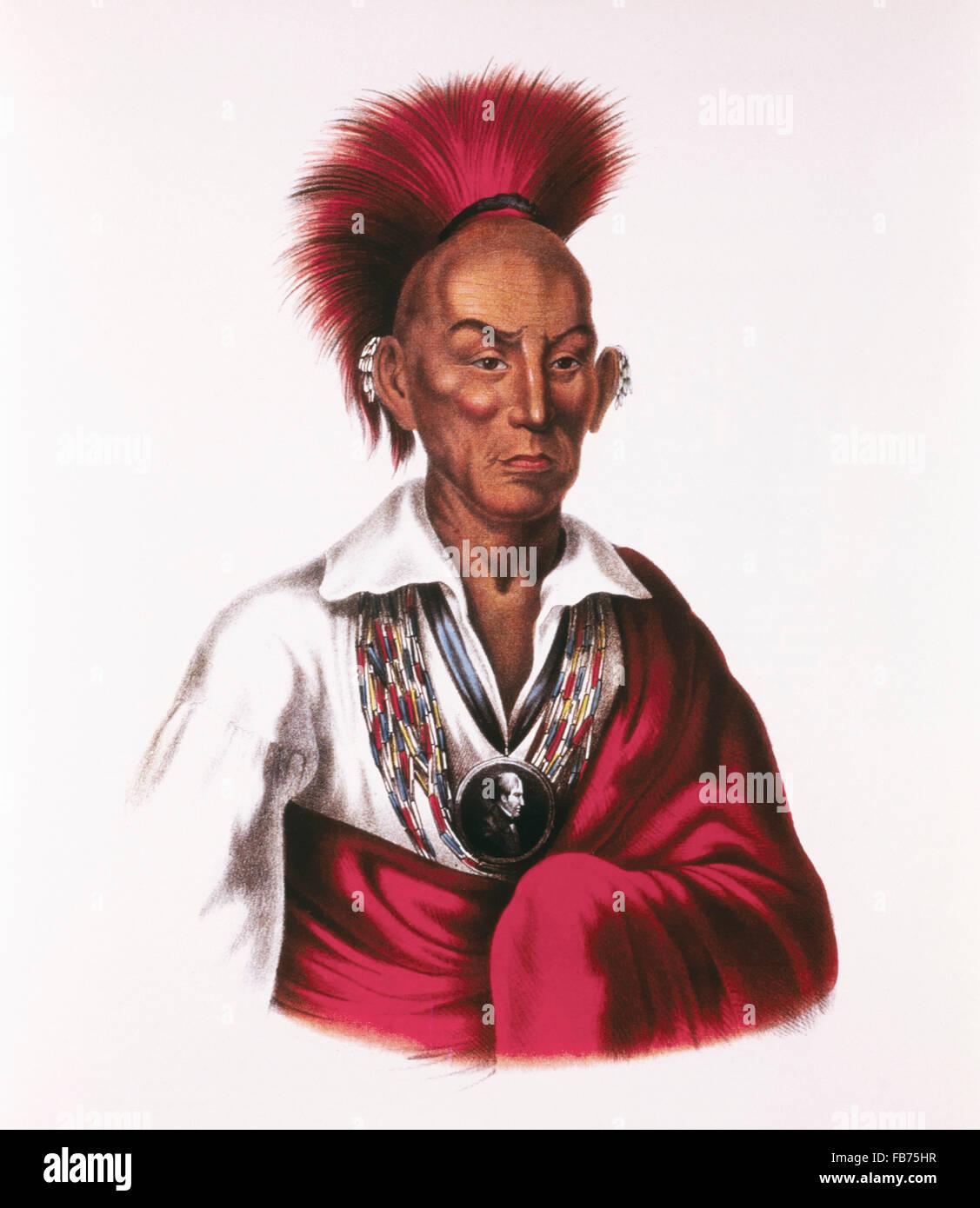 Black Hawk, Makataimeshekiakiah, Sauk and Fox Chief, Leader of Black Hawk War, 1831-32, Painting by Charles Bird - Stock Image
