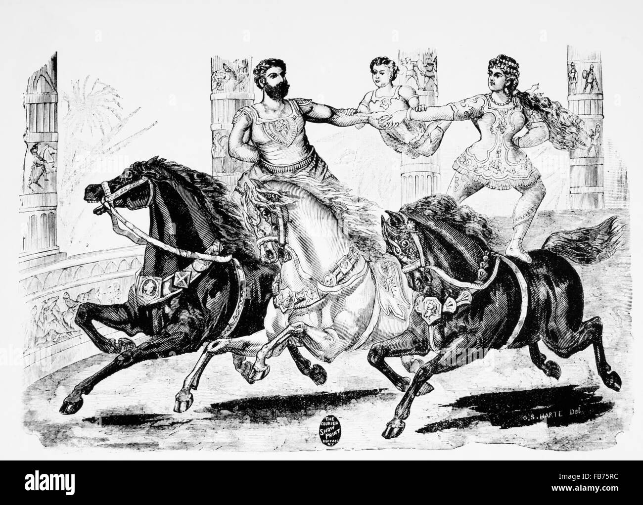 Man and Woman Riding Bareback on Horses While Holding Child Between Them, Circus Performance, Engraving, 19th Century - Stock Image