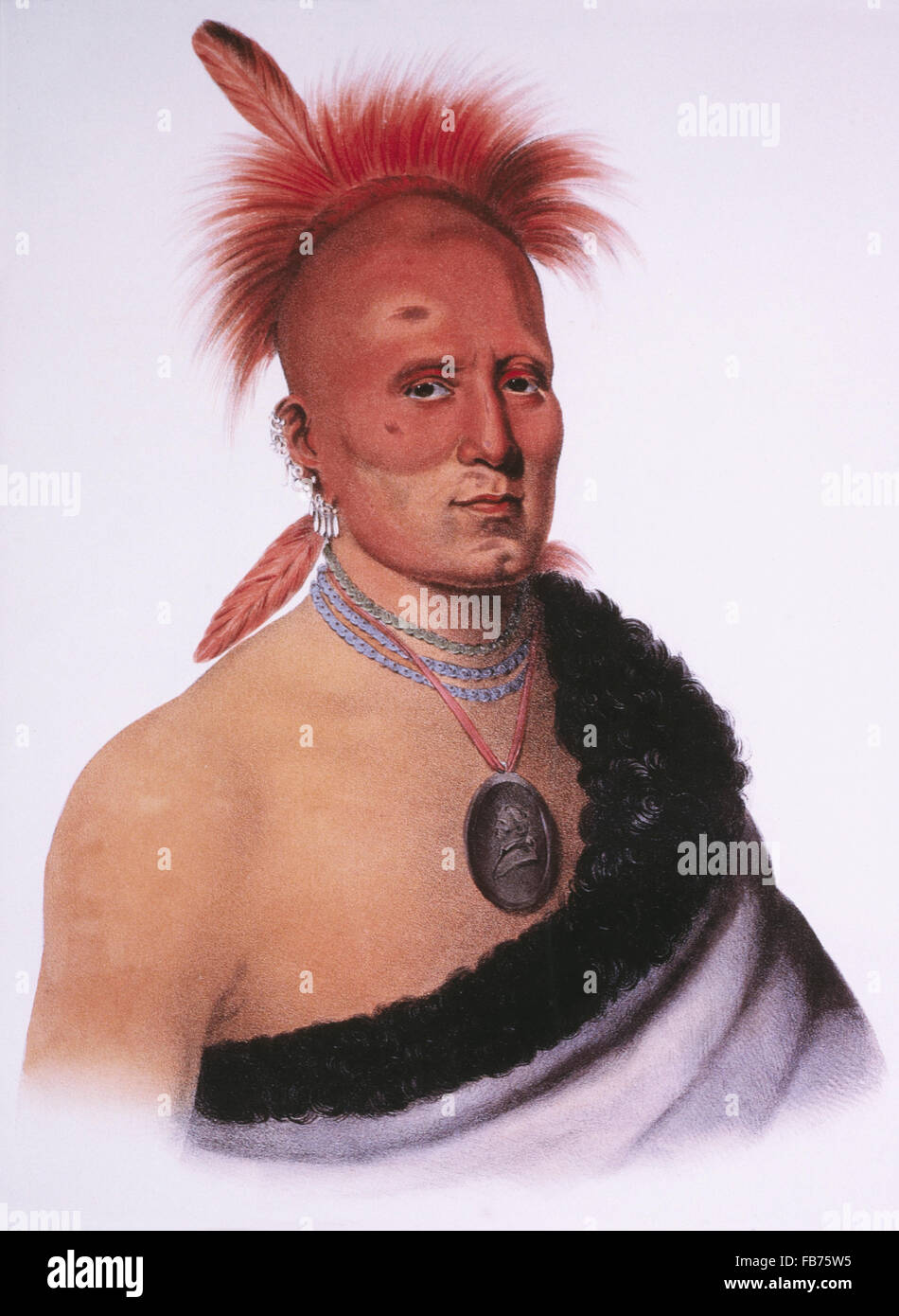 Shar-I-Tar-Ish, Pawnee Chief, Lithograph by McKenney and Hall after Painting by Charles Bird King, circa 1821 - Stock Image