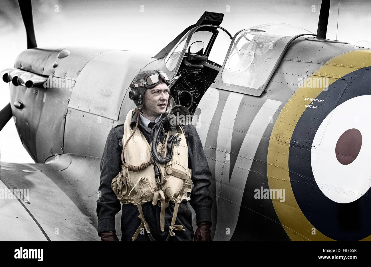 RAF WW2 Pilot with Spitfire - Stock Image