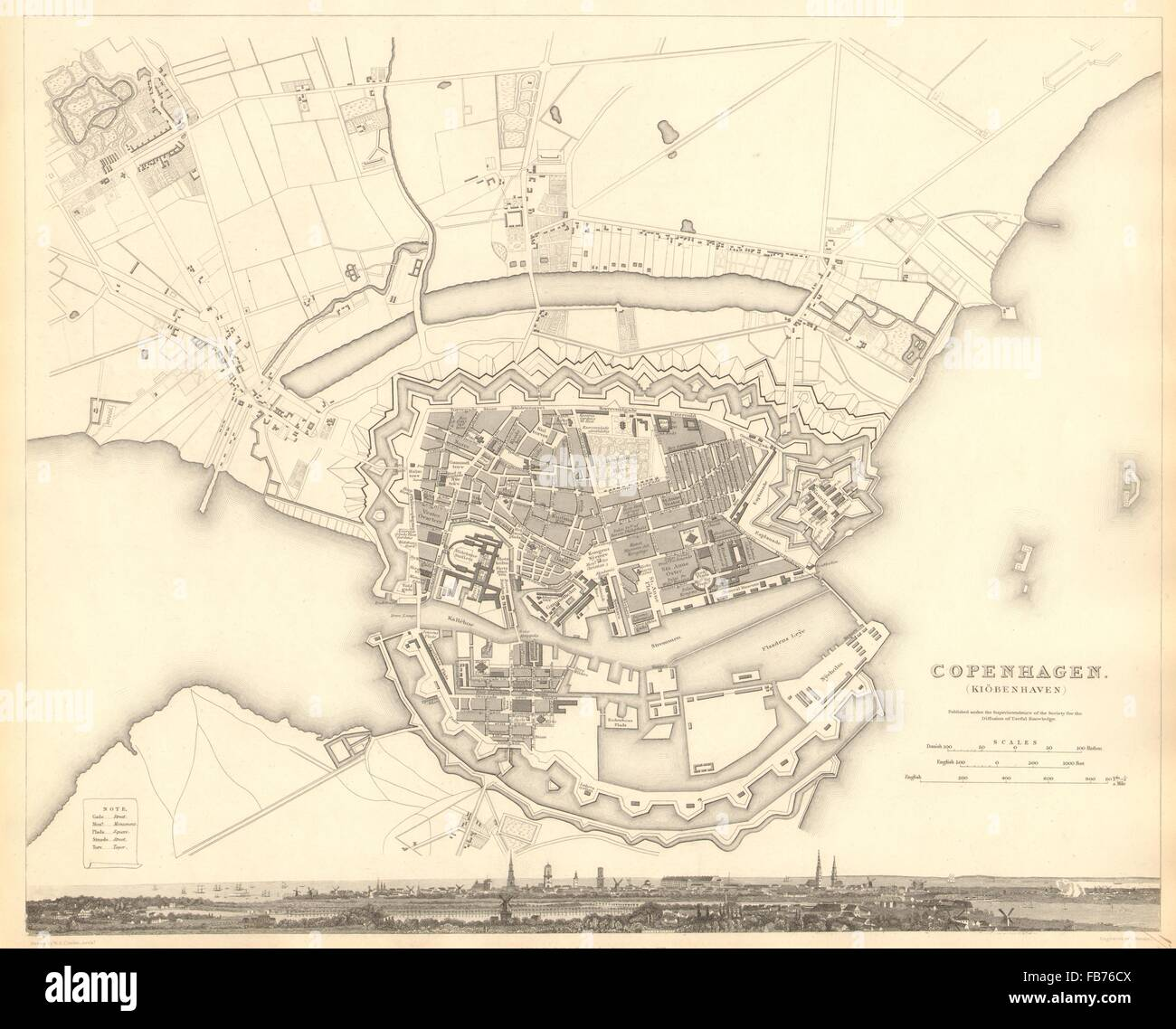 COPENHAGEN KIOBENHAVEN KOBENHAVEN KØBENHAVN: Town city map plan. SDUK, 1848 - Stock Image