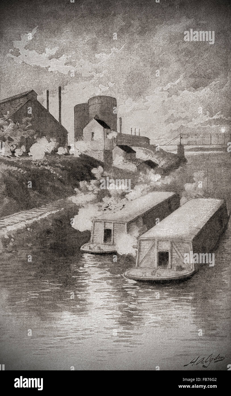 Striking workers fire on private security agents' barges during The Homestead Strike, aka the Homestead Steel - Stock Image