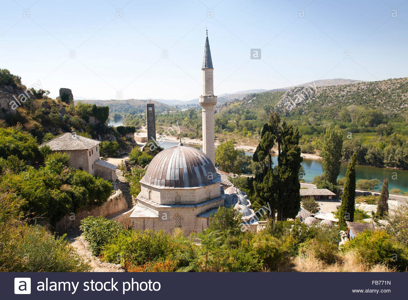 mosque,pocitelj,ancient town and neretva river,bosnia and herzegovina,europe - Stock Image