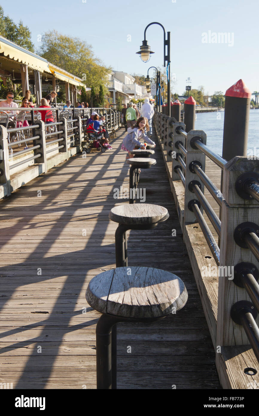 Tourists Eat In Restaurants And Stroll Along The Picturesque Stock