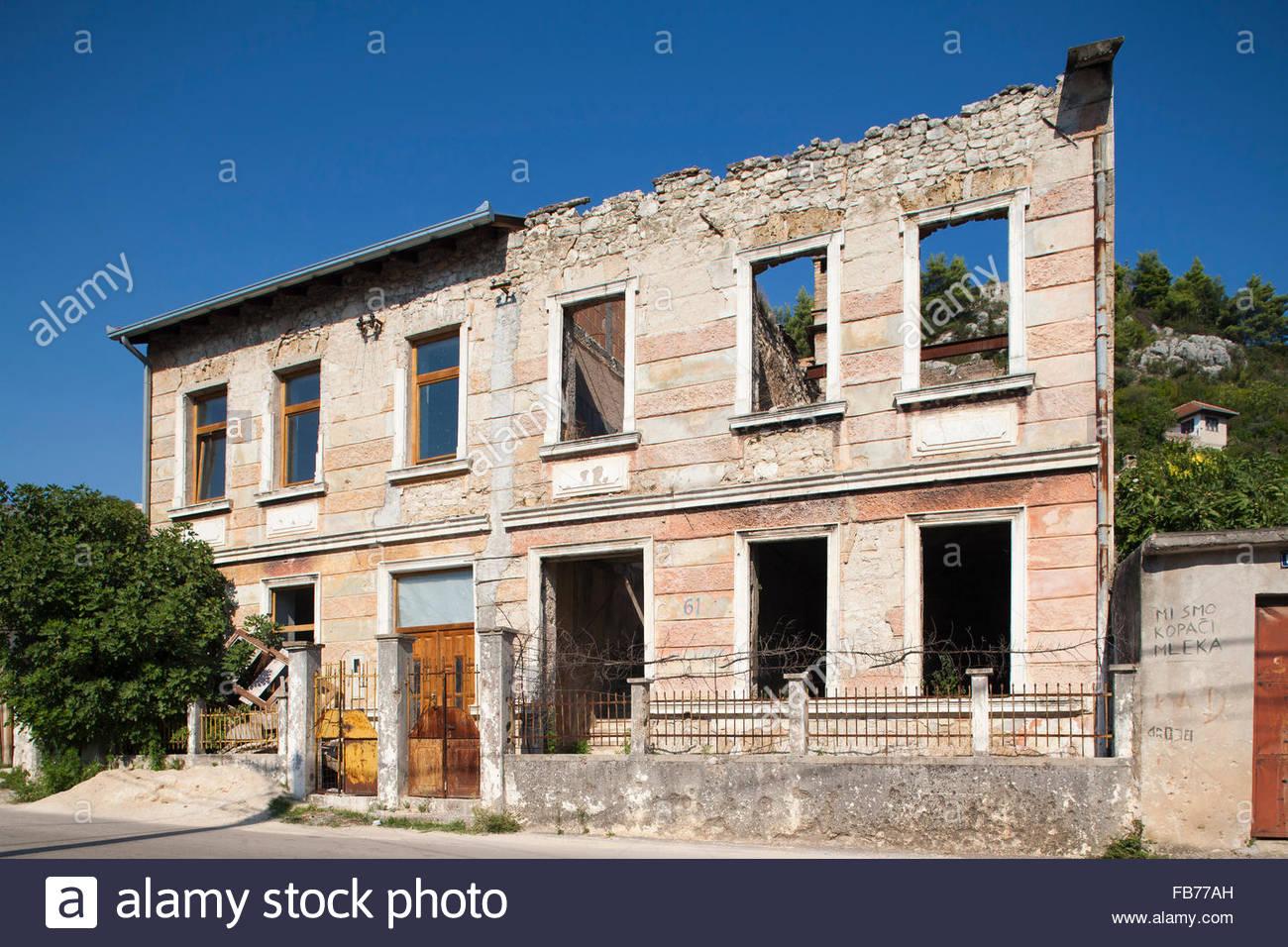 bombed house,stolac,village,bosnia and herzegovina,europe - Stock Image