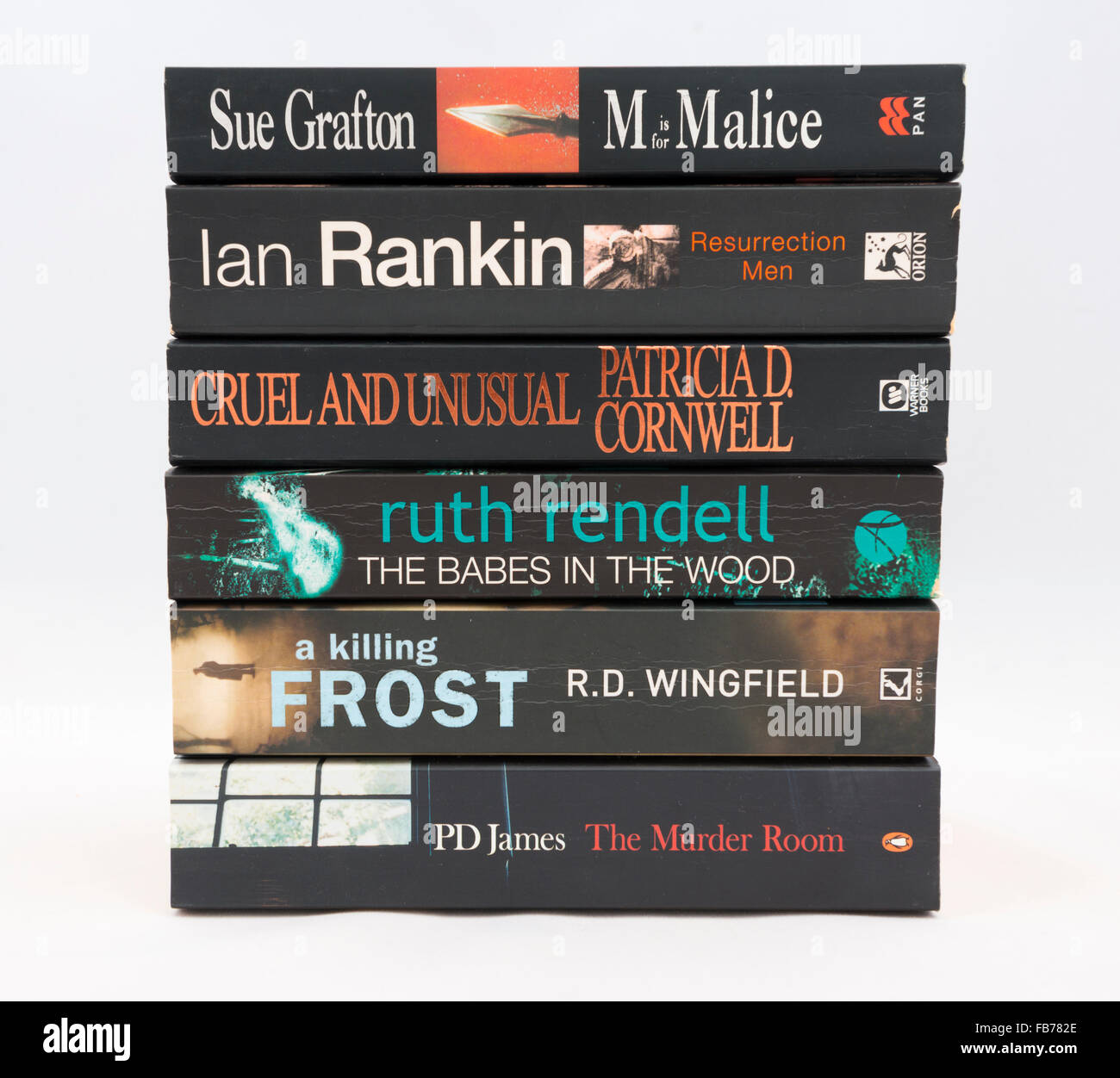 Crime novels by bestselling authors - Ian Rankin, Sue Grafton, PD James, R.D. Wingfield, Ruth Rendell, Patricia - Stock Image