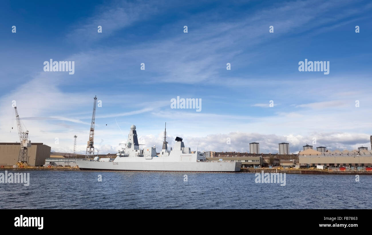 HMS Defender (D36) Type 45 or Daring-class Royal Navy air-defence destroyer.  Model Release: No.  Property Release: - Stock Image