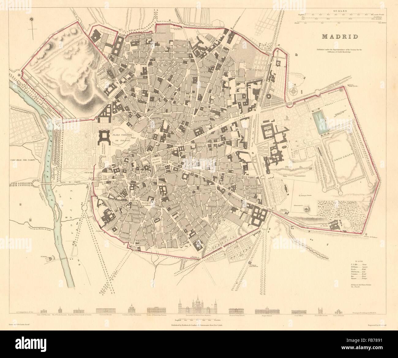 MADRID: Antique town city map plan. Original outline colour. SDUK, 1848 Stock Photo