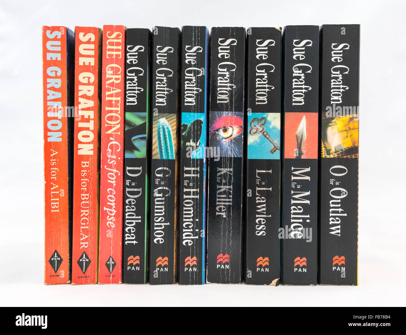 Detective novels by Sue Grafton featuring private investigator Kinsey Millhone. - Stock Image