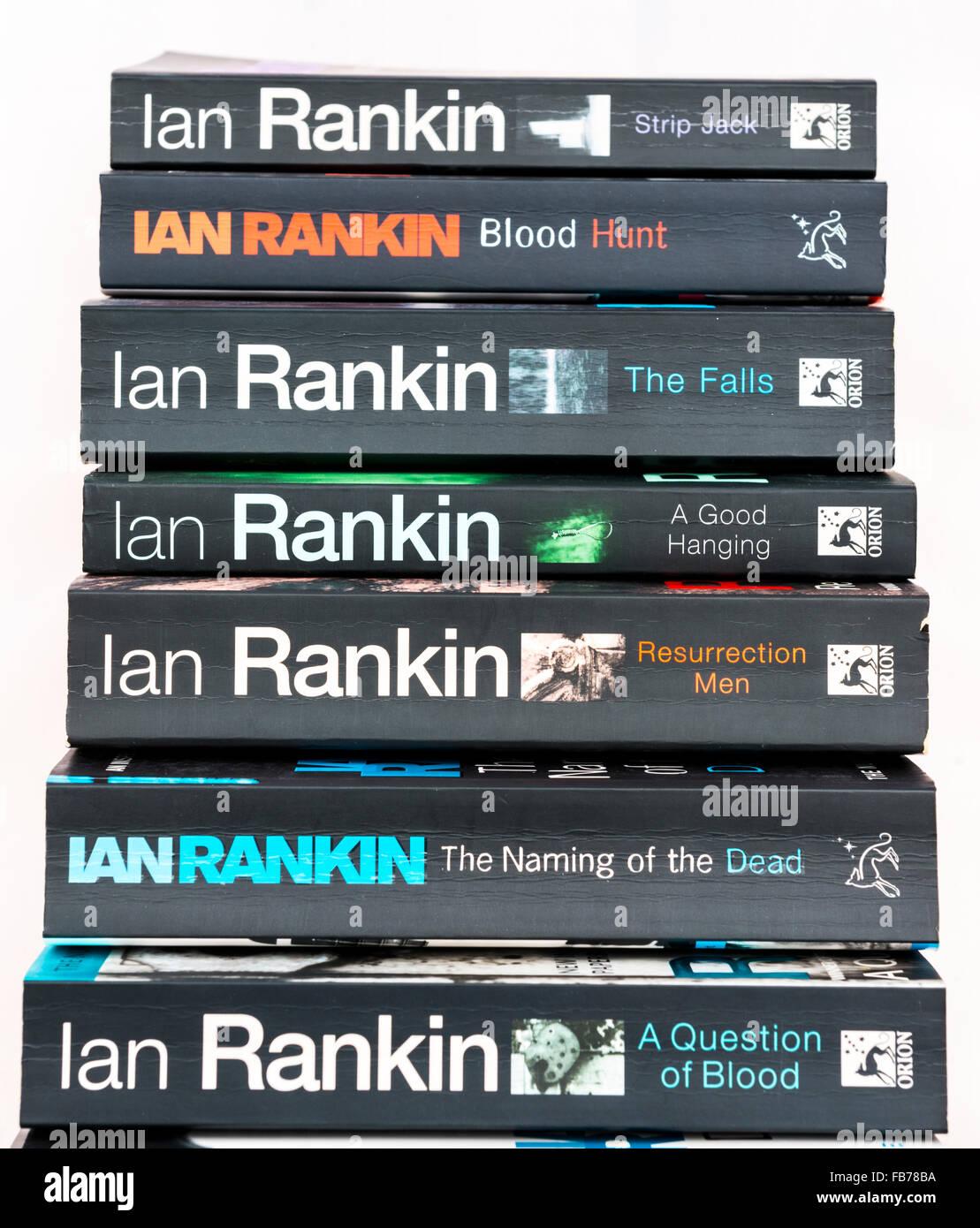 Crime novels by Ian Rankin featuring Inspector John Rebus. - Stock Image
