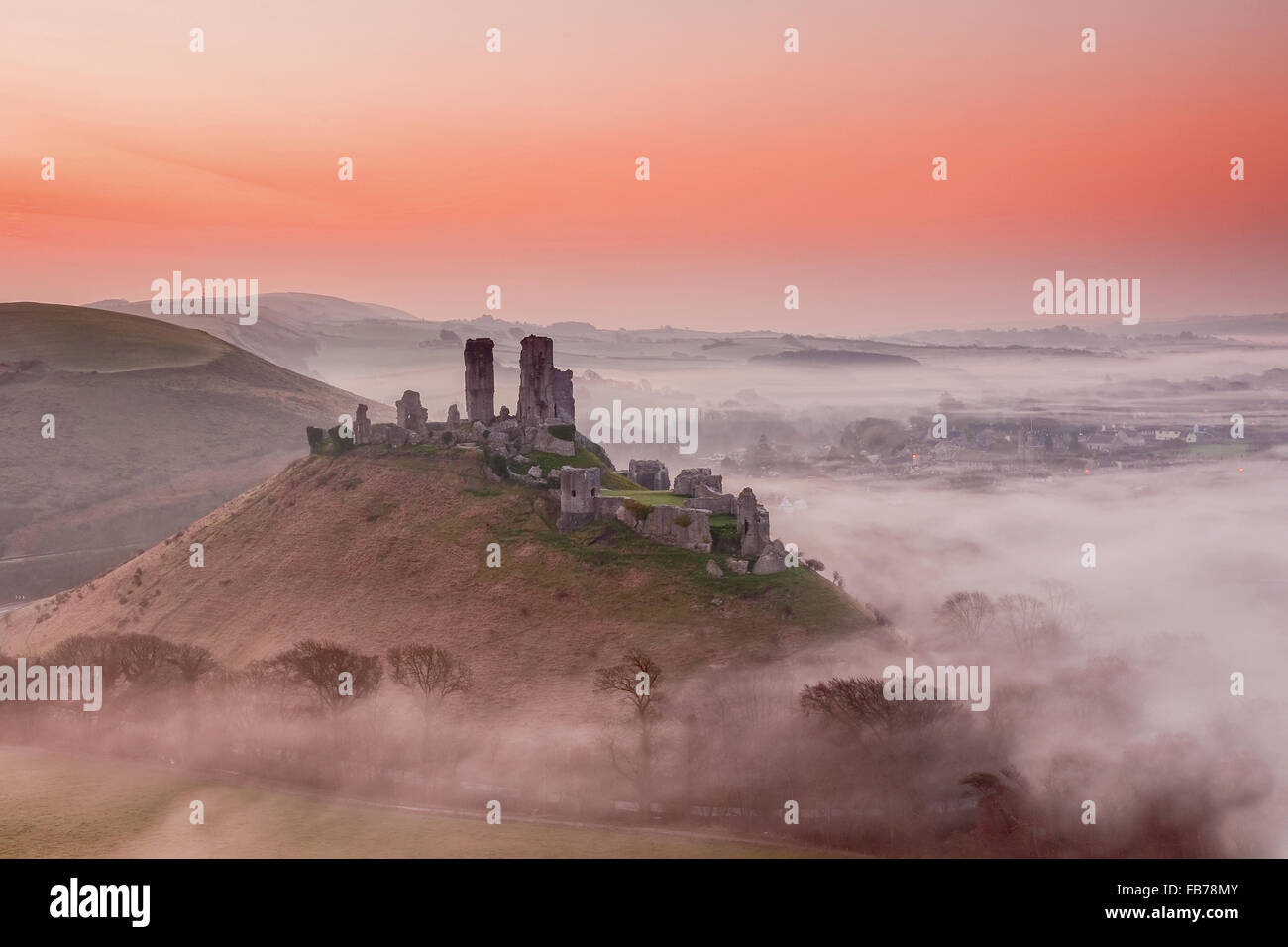 A view over Corfe Castle in Dorset. Stock Photo