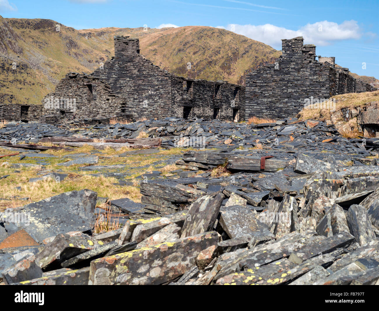 Long abandoned Rhos slate quarry accommodation high up mountainside near Capel curig Snowdonia national Park. - Stock Image