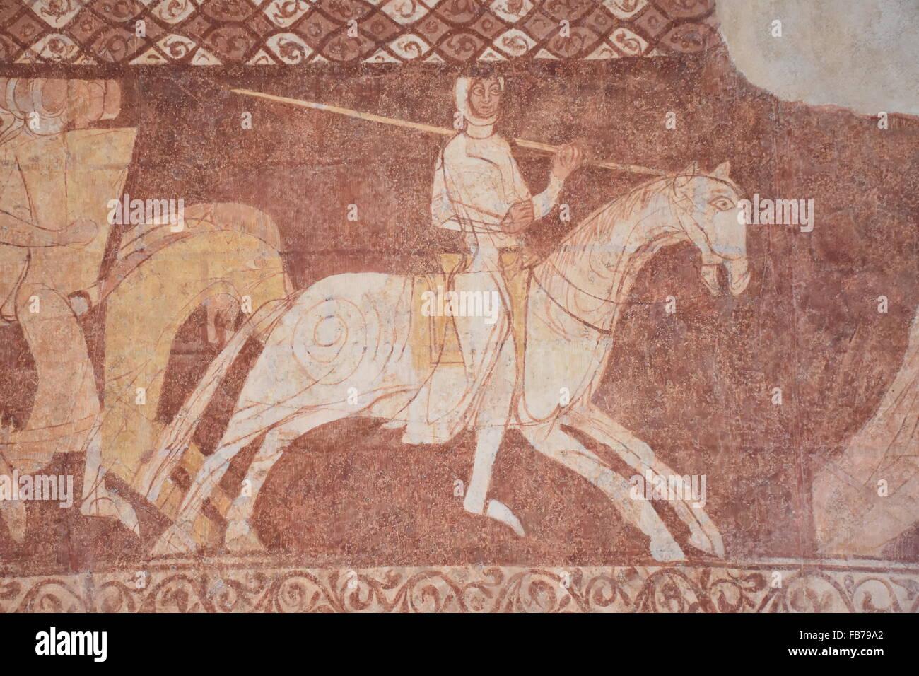Mural Cressac Templar chapel France - Stock Image