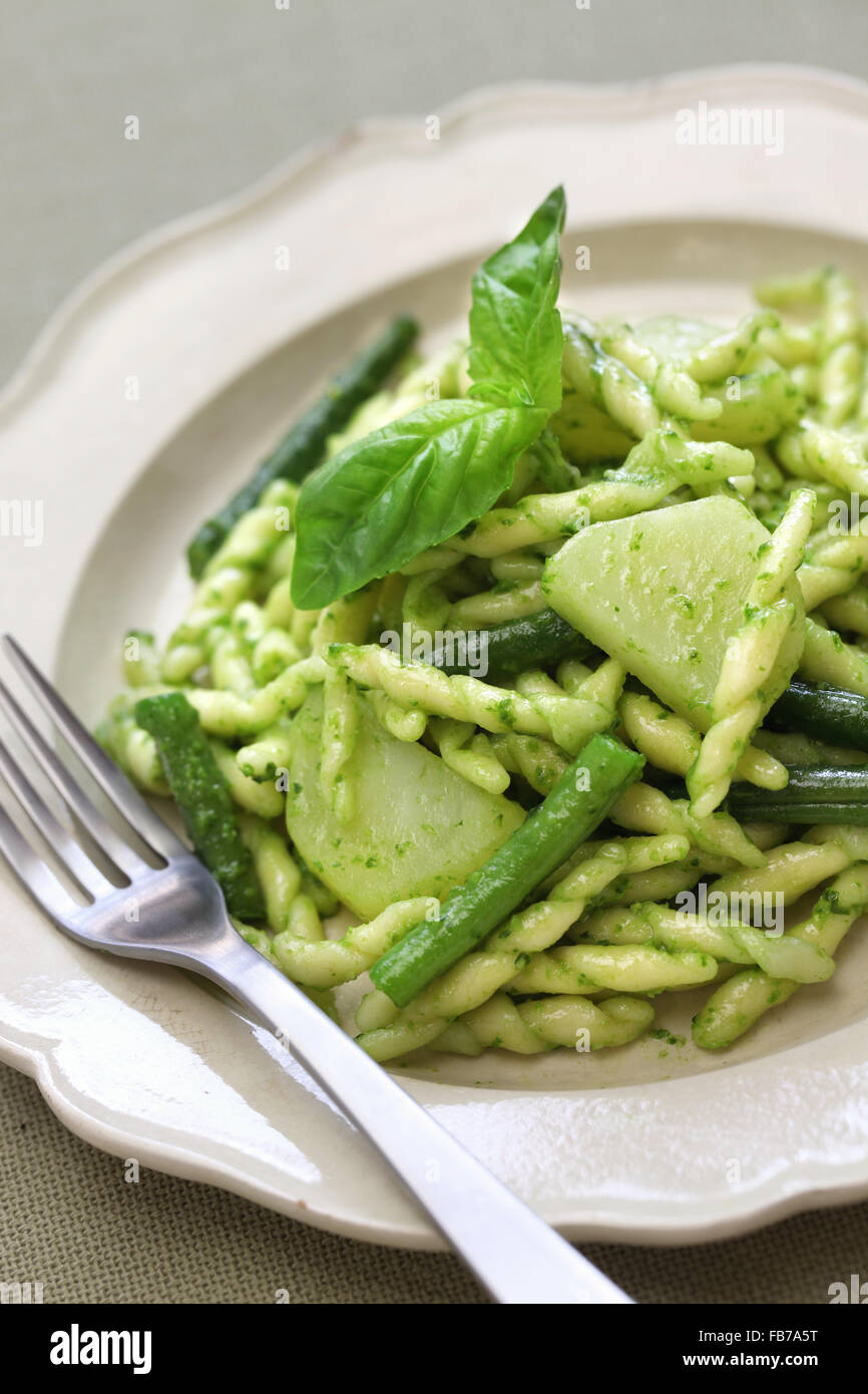 trofie pasta with pesto, green beans and potatoes, italian cuisine - Stock Image