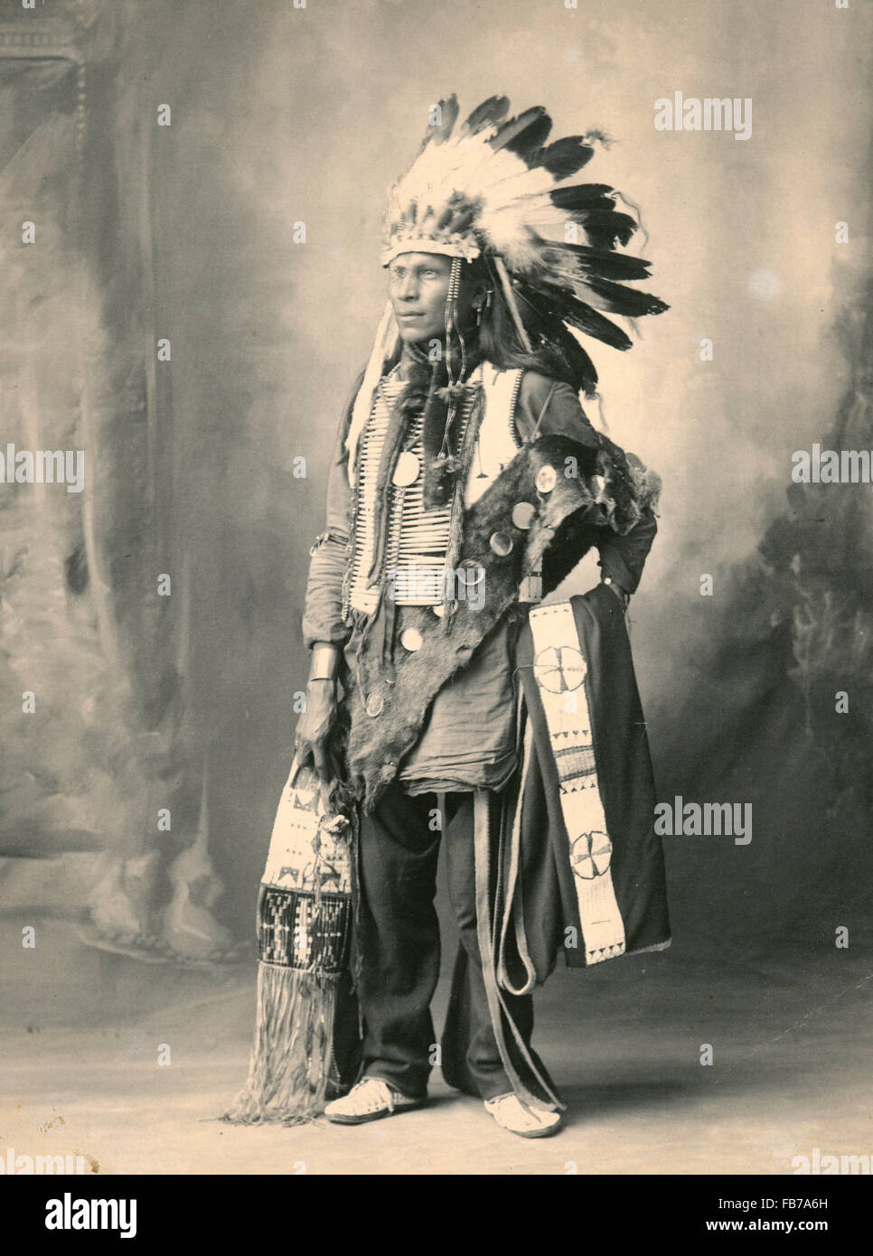 Native American Indian, Spotted Horse, Sioux Indian - Stock Image